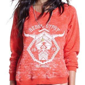 Billabong Red Gypsy Rebel Pullover Sweatshirt